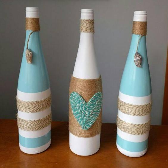 garrafas decoradas com barbante - garrafas coloridas com barbante