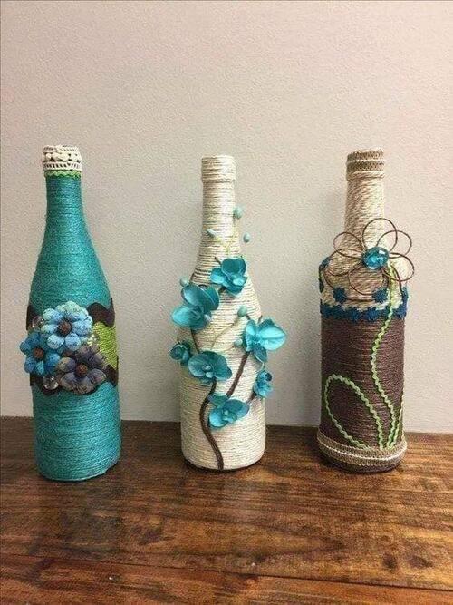 garrafas decoradas com barbante - garrafas coloridas com flores e barbantes
