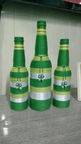 garrafas decoradas com barbante - garrafas com barbante verde