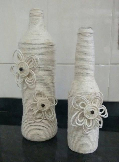 garrafas decoradas com barbante - garrafas com barbantes brancos