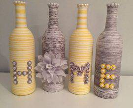 garrafas decoradas com barbante - garrafas com barbantes coloridos - Etsy