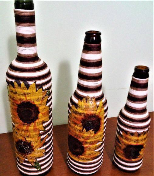 garrafas decoradas com barbante - garrafas com barbantes pintados