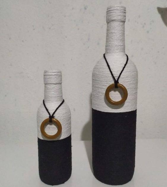 garrafas decoradas com barbante - garrafas com barbantes preto e branco