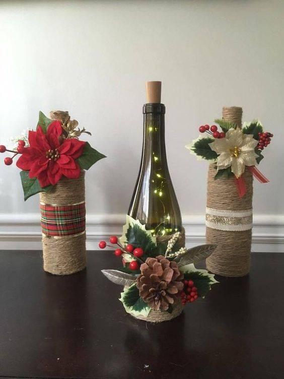 garrafas decoradas com barbante - garrafas com decoração natalina