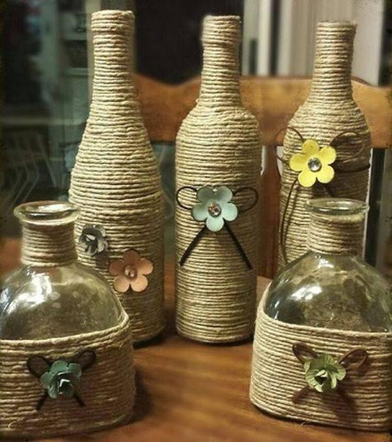 garrafas decoradas com barbante - garrafas com decoração simples