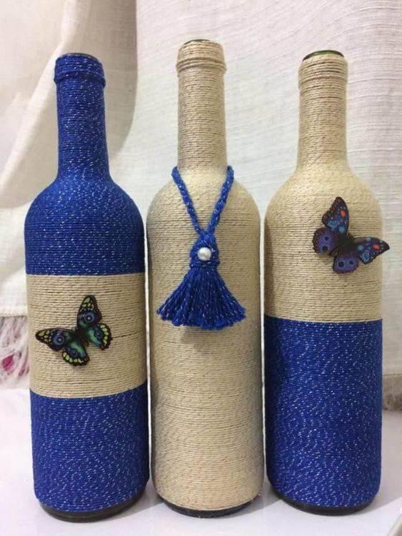 garrafas decoradas com barbante - garrafas decoradas com barbantes azul e marrom