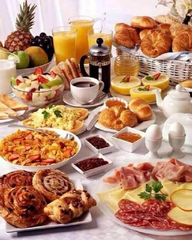 ideias para mesa de café da manhã decorada Foto Pinterest