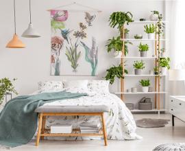 Posicione as plantas para quarto de casal próximo a cama