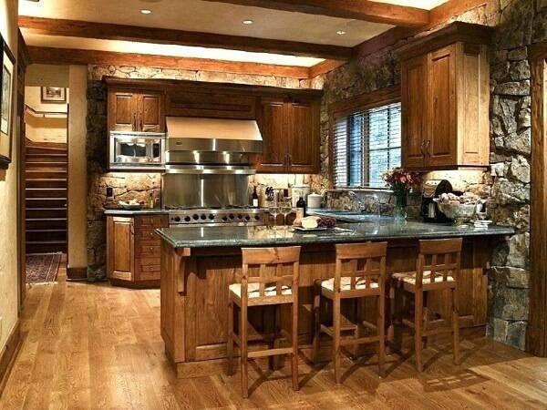 Modelo compacto de armário de madeira para cozinha planejado