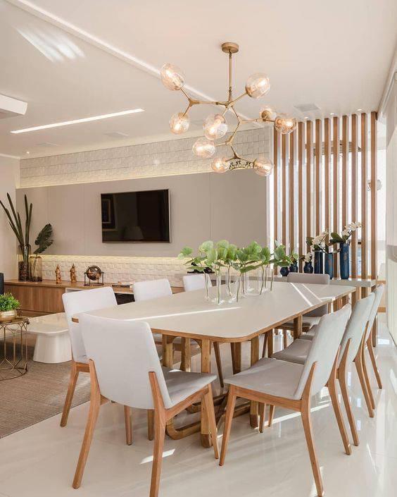lustres modernos - lustre ramificado em sala de jantar