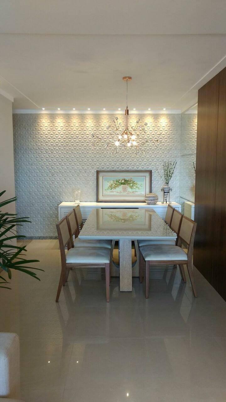 lustres modernos - sala de jantar com lustre e revestimento 3d