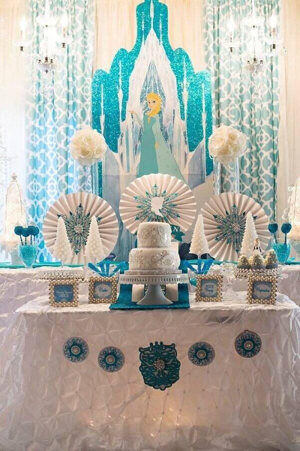 mesa de aniversário para festa da frozen  Foto Oh Decor Curtain