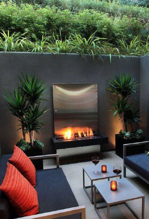 mesa de apoio para varanda com lareira Foto Pinterest