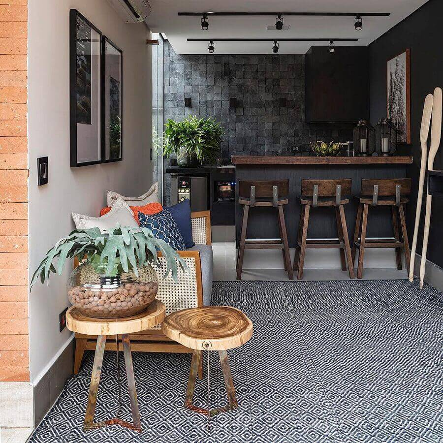 mesa de apoio redonda para varanda gourmet Foto Studio Deux