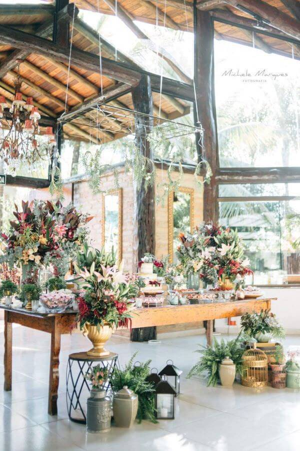 mesa de bolo de casamento