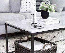 mesa de mármore - mesa de centro de mármore branco - Home Yohmy