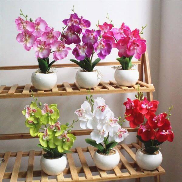 mini orquídea na decoração