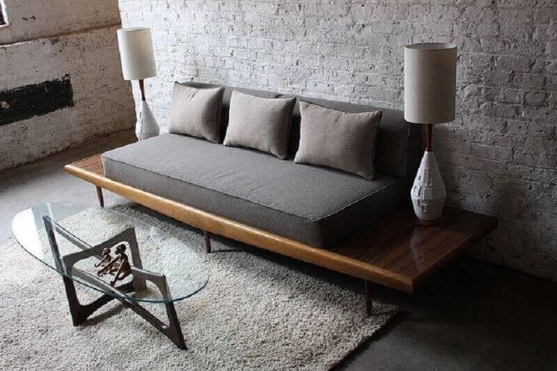 modelo de sofá sem braço para sala rústica Foto Pinterest