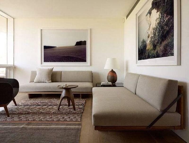 modelo moderno de sofá sem braço com base de madeira Foto Ecce Home