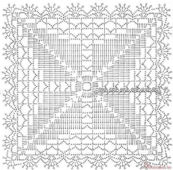 Molde de tapete de crochê quadrado