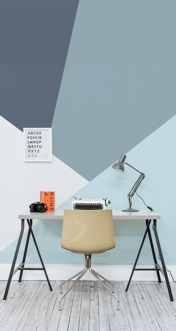 Papel parede azul geométrico