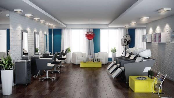 Parede azul para ambientes comerciais