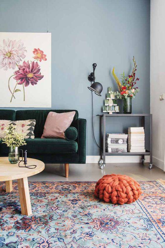 Parede azul para sala de estar