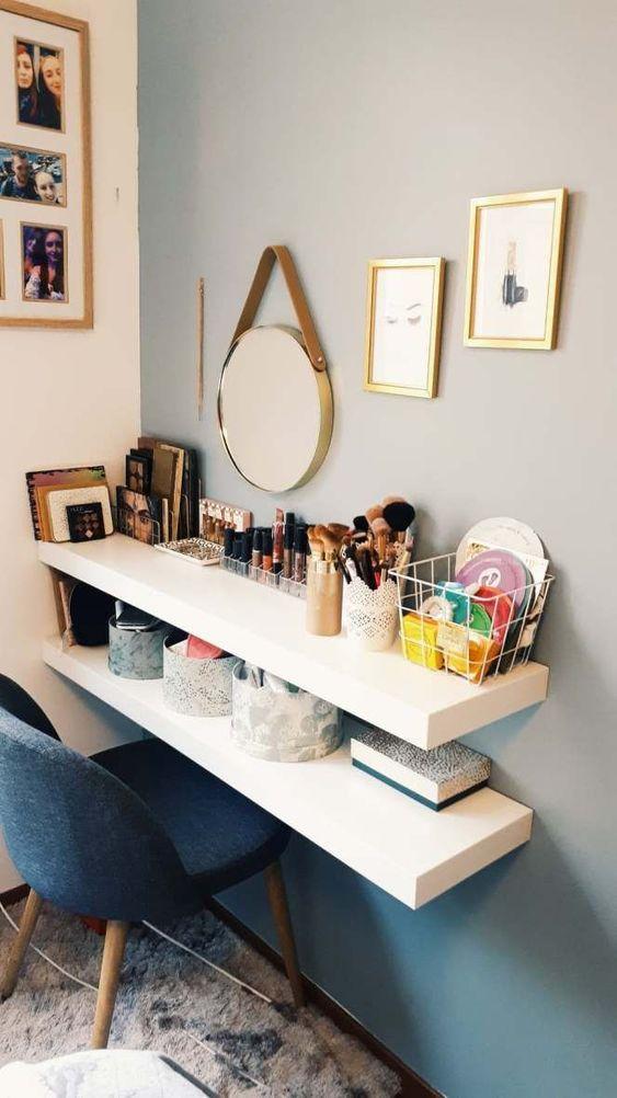 Penteadeira com cadeira eames estofada