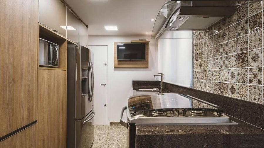 pia de granito - armário de cozinha em marcenaria e painel para tv