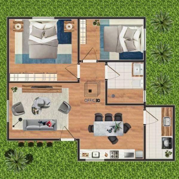 Plantas de casas simples e pequenas com 2 cômodos