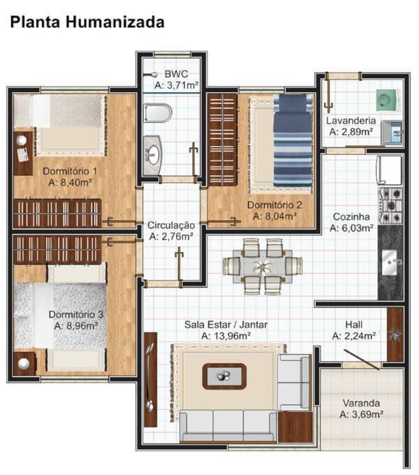 Plantas de casas simples com 3 quartos
