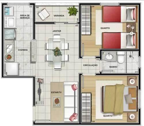 Plantas de casas simples com 2 quartos
