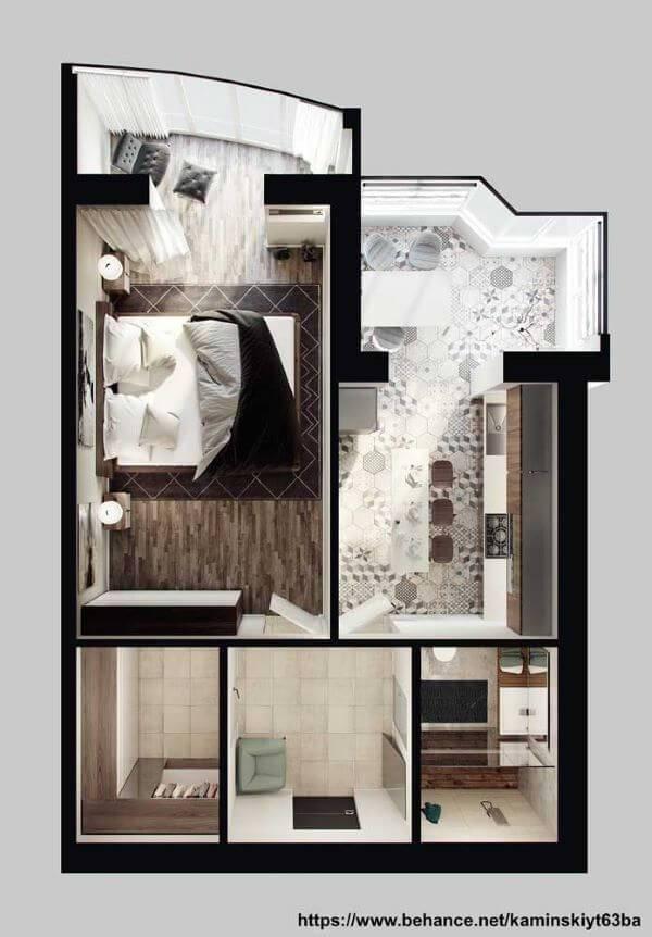 Plantas de casas simples com um quarto amplo