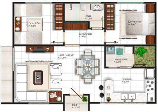 Plantas de casas simples com sala de jantar e estar ampla