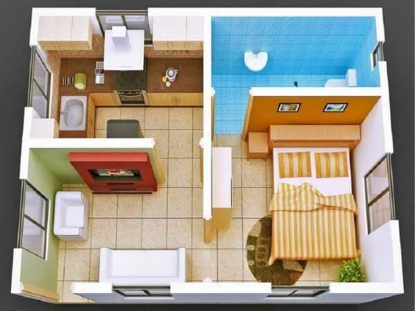 Casa pequena com um quarto amplo
