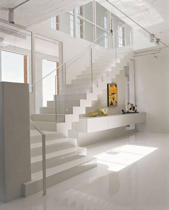 porcelanato branco - escada com porcelanato branco