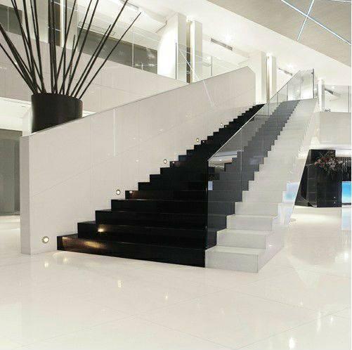 porcelanato branco - escada de porcelanato branco