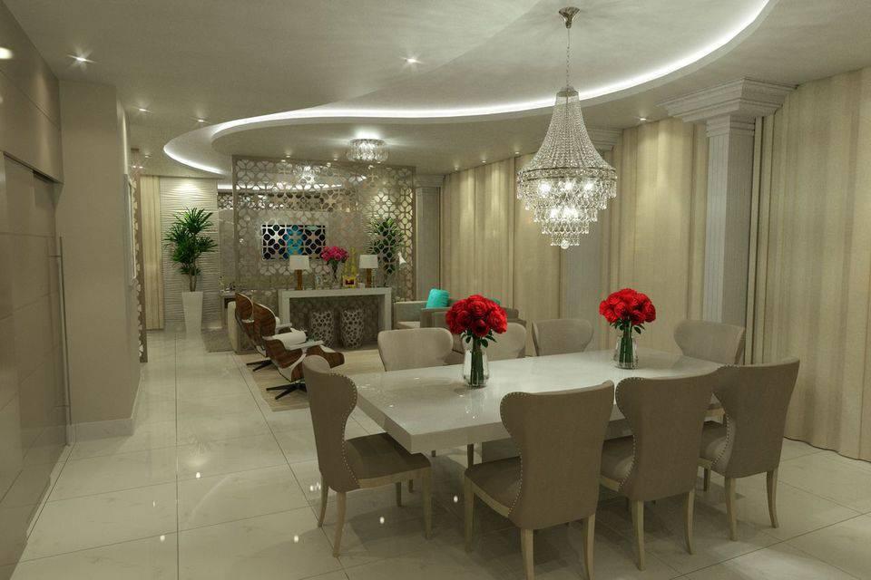 porcelanato branco - mesa de jantar de quartzo e piso de porcelanato