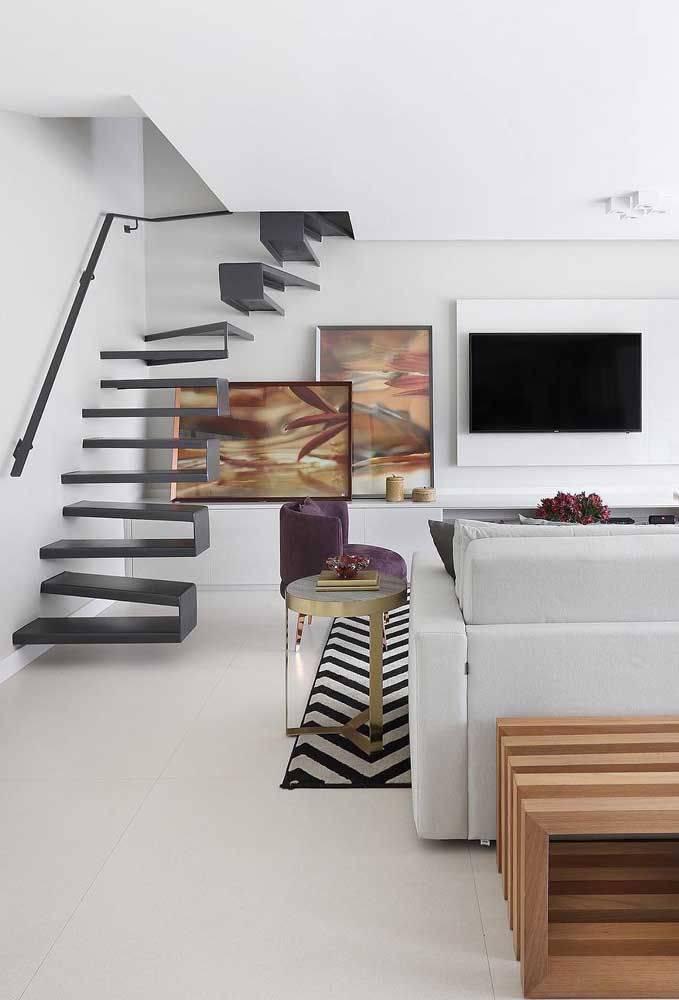 porcelanato branco - sala de estar moderna com porcelanato