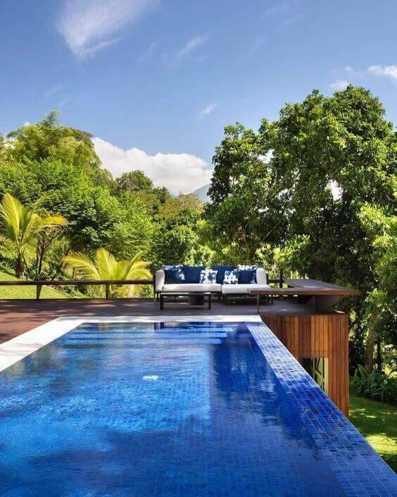 revestimento para piscina - piscina com borda infinita