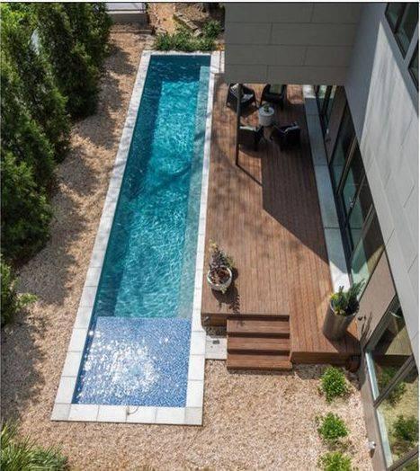 revestimento para piscina - piscina retangular com revestimentos diferentes