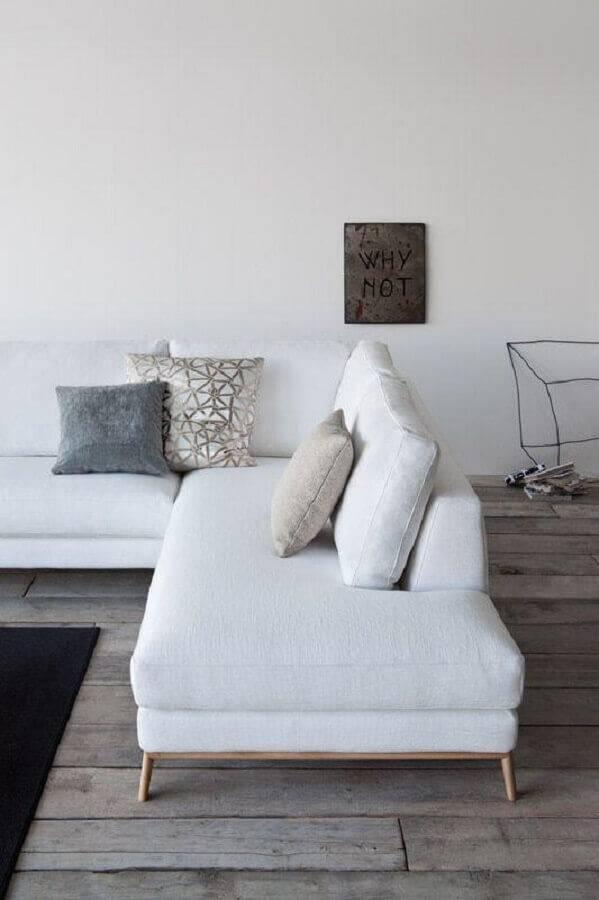 sofá de canto sem braço de linho com base em madeira Foto Wood Save