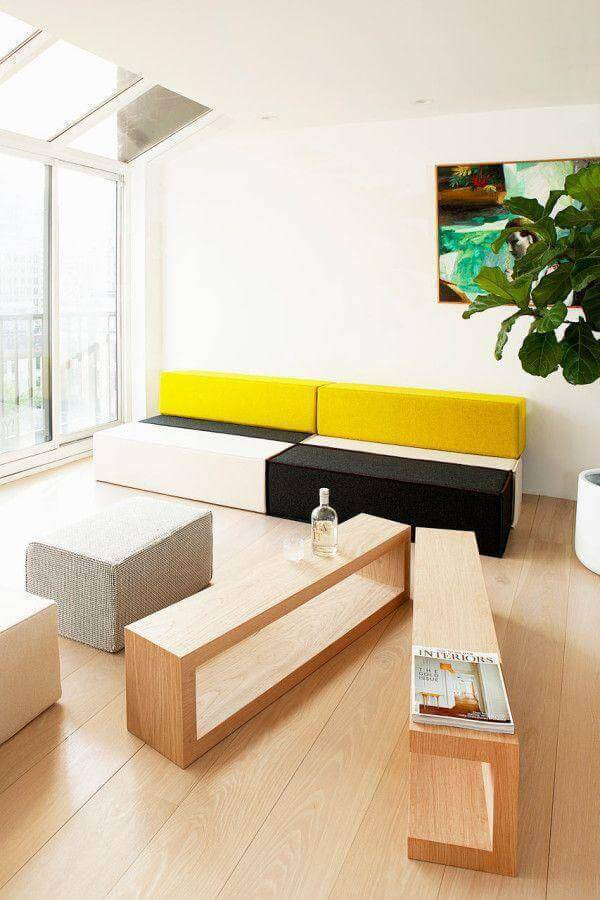sofá sem braço moderno colorido Foto Archzine
