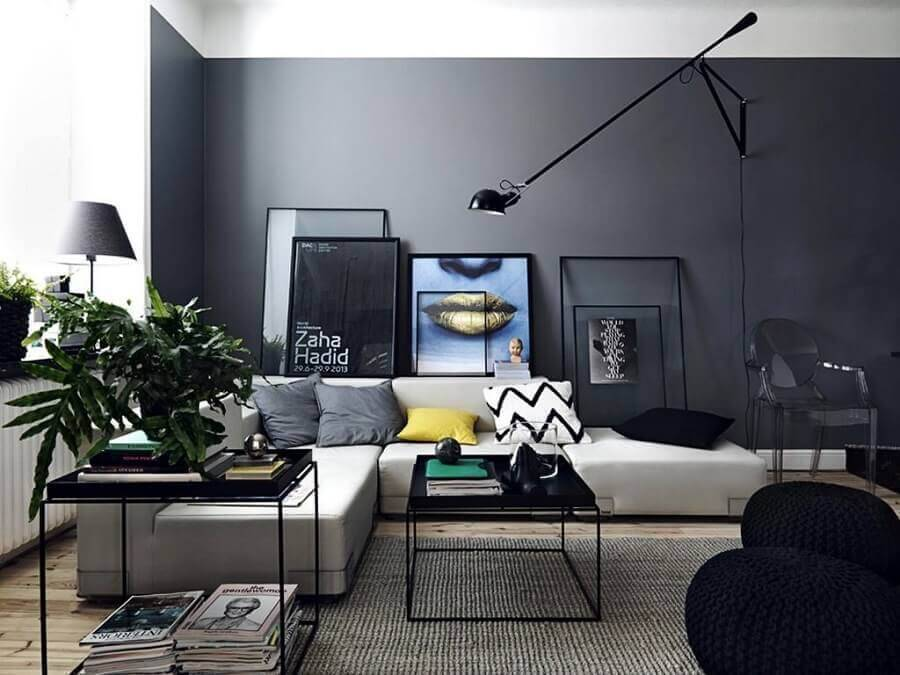 sofá sem braço para decoração de sala moderna preta e cinza Foto Pinterest