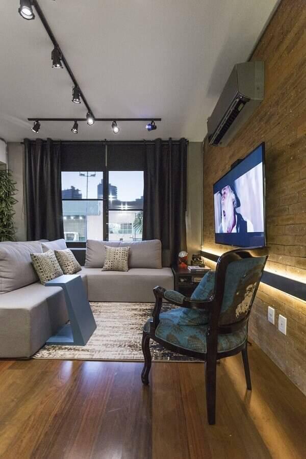 sofá sem braço para sala decorada com parede de tijolinho à vista Foto Casa de Valentina