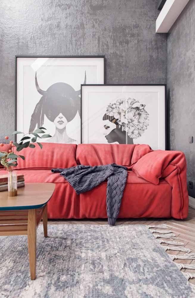 sofá cor vermelha