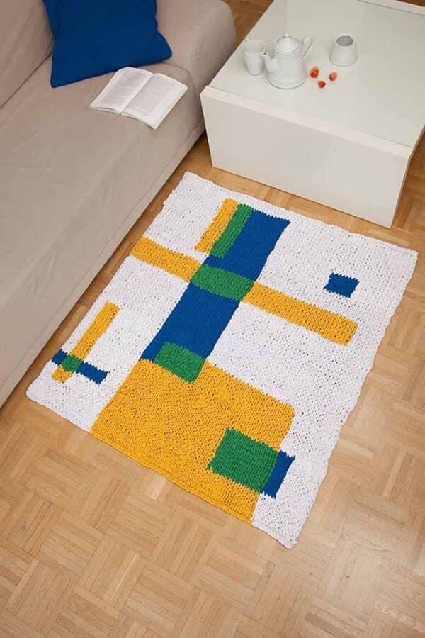 tapete de crochê quadrado para sala