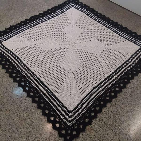 bico de crochê para tapete de barbante quadrado