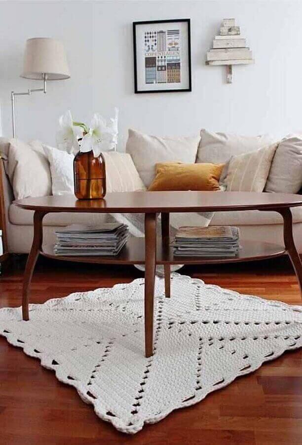 Tapete de crochê quadrado para sala de estar
