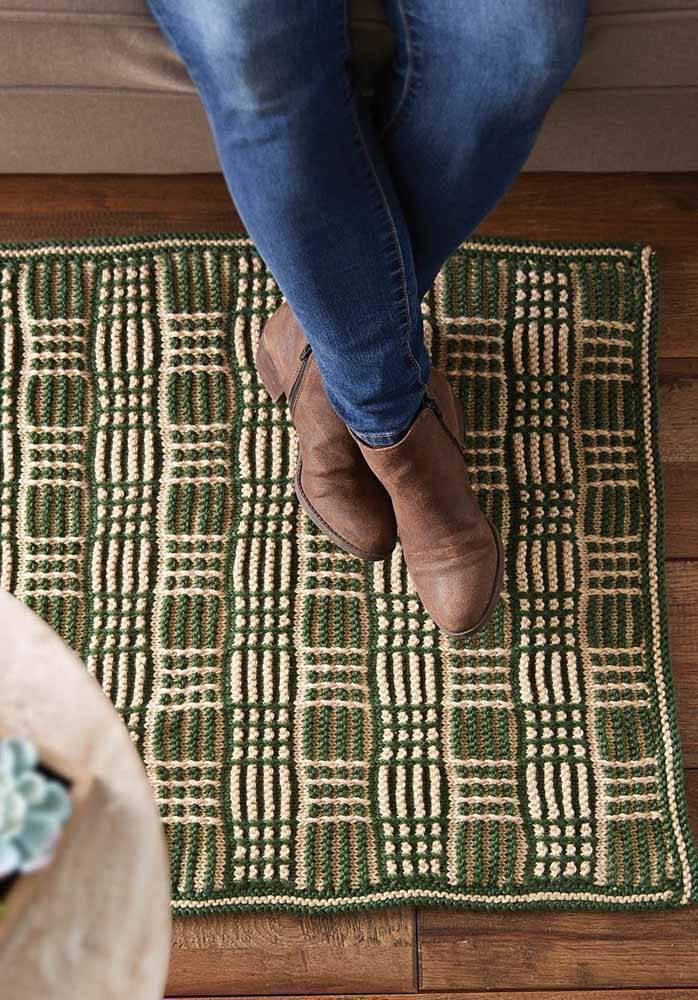 tapete de crochê quadrado